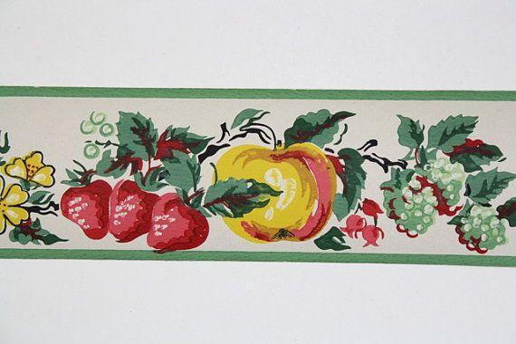 Full Vintage Wallpaper Border   TRIMZ   Kitchen Fruit   Pears Strawb 570x380