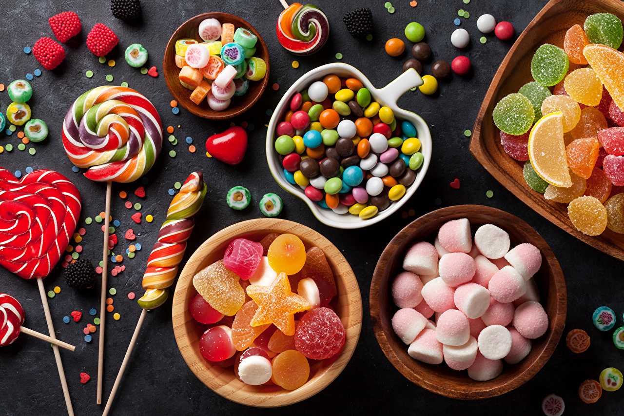 Desktop Wallpapers Food candies jelly Candy Lollipop Marmalade 1280x853