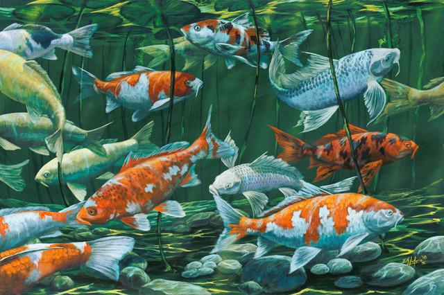 Koi pond wallpaper wallpapersafari for Koi wallpaper for walls