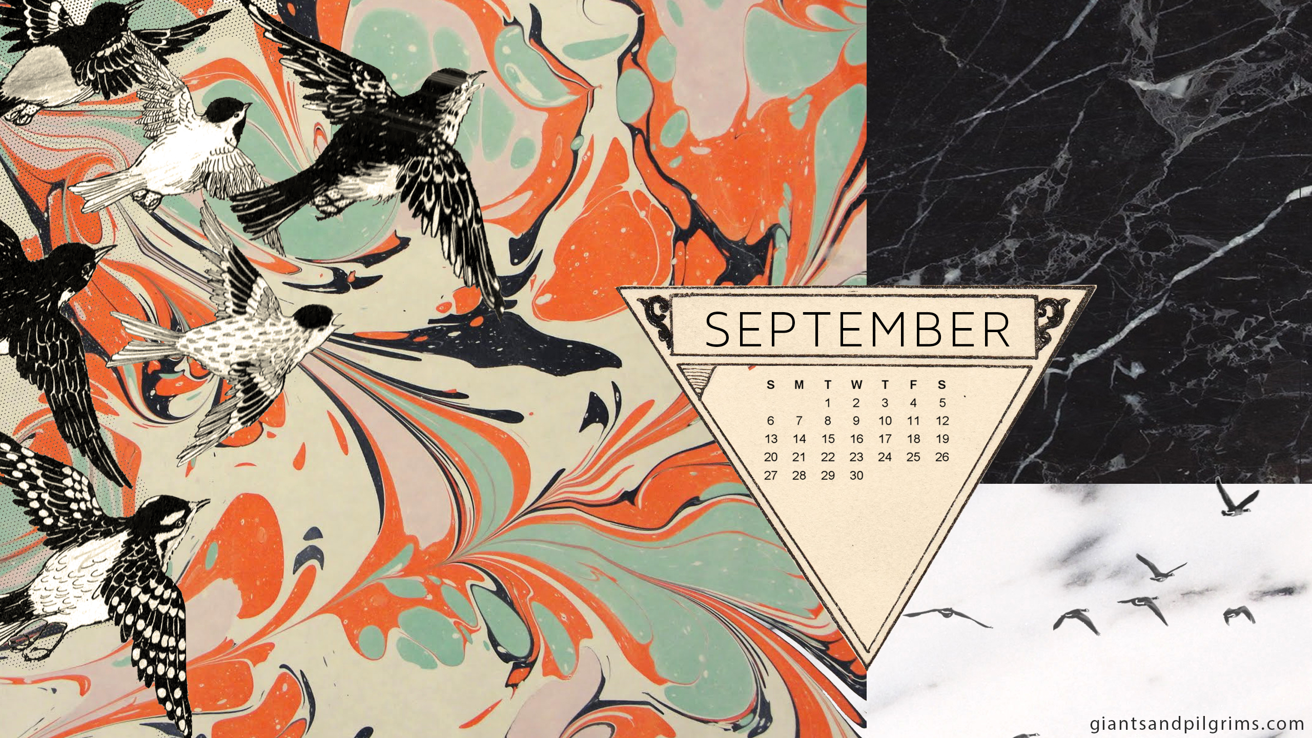 September Calendar Desktop and iPhone Wallpaper Giants 2560x1440