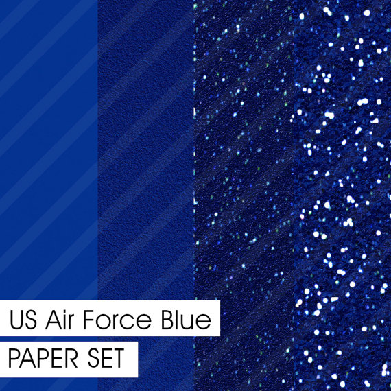 Glitter&Plain PAPER set US Air Force Blue 4 different pre-made pages ...