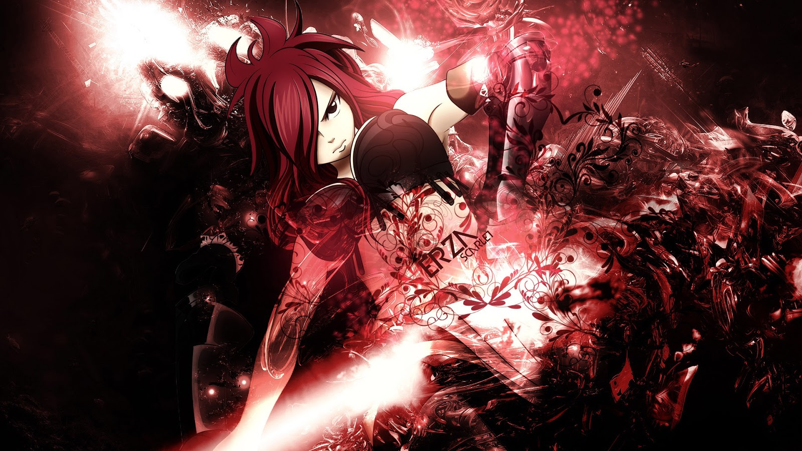 Sexy Erza Scarlet Fairy Tail Female Girl Red Hair Anime HD Wallpaper 1600x900