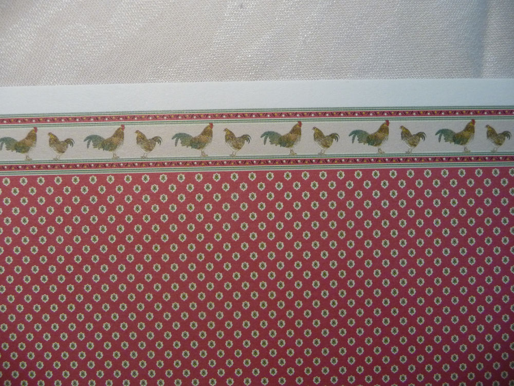 Miniature Dollhouse Red Rooster Wallpaper by Brodnax 2 Sheets eBay 1000x750