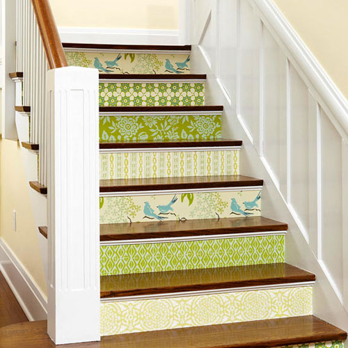 Staircase Ideas Stair risers decorated with wallpaper 500x500