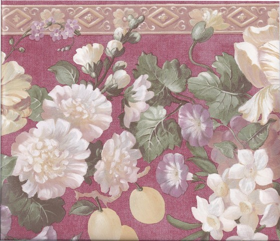 Red Gold Molding Grapes Peaches Floral Wallpaper Border Roll 559x480