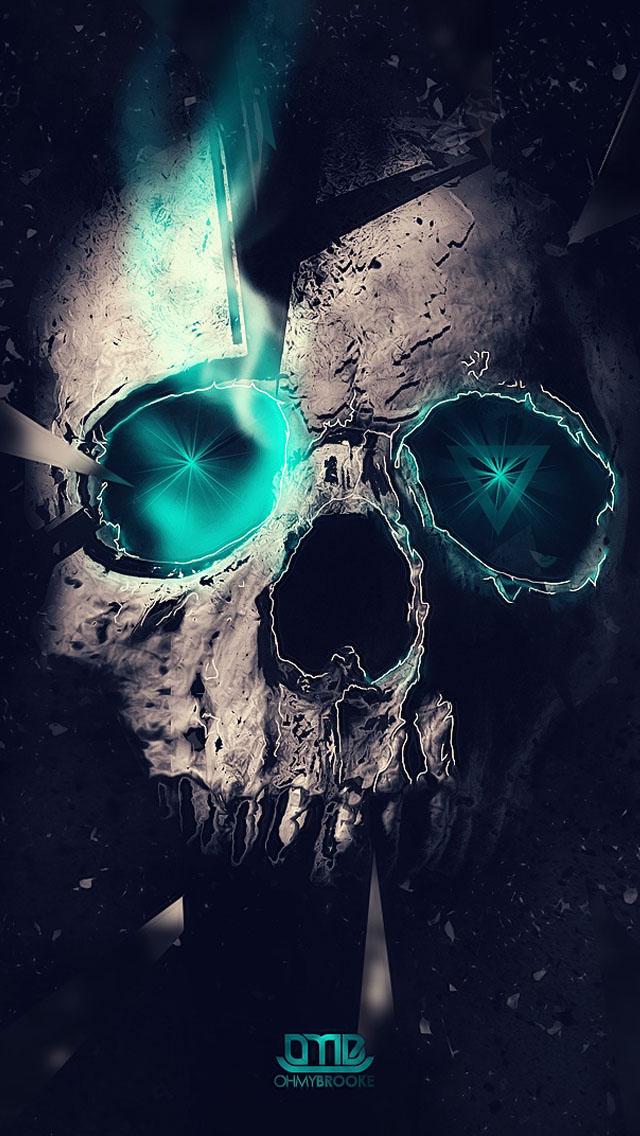 Blue Skull Wallpaper   iPhone Wallpapers 640x1136