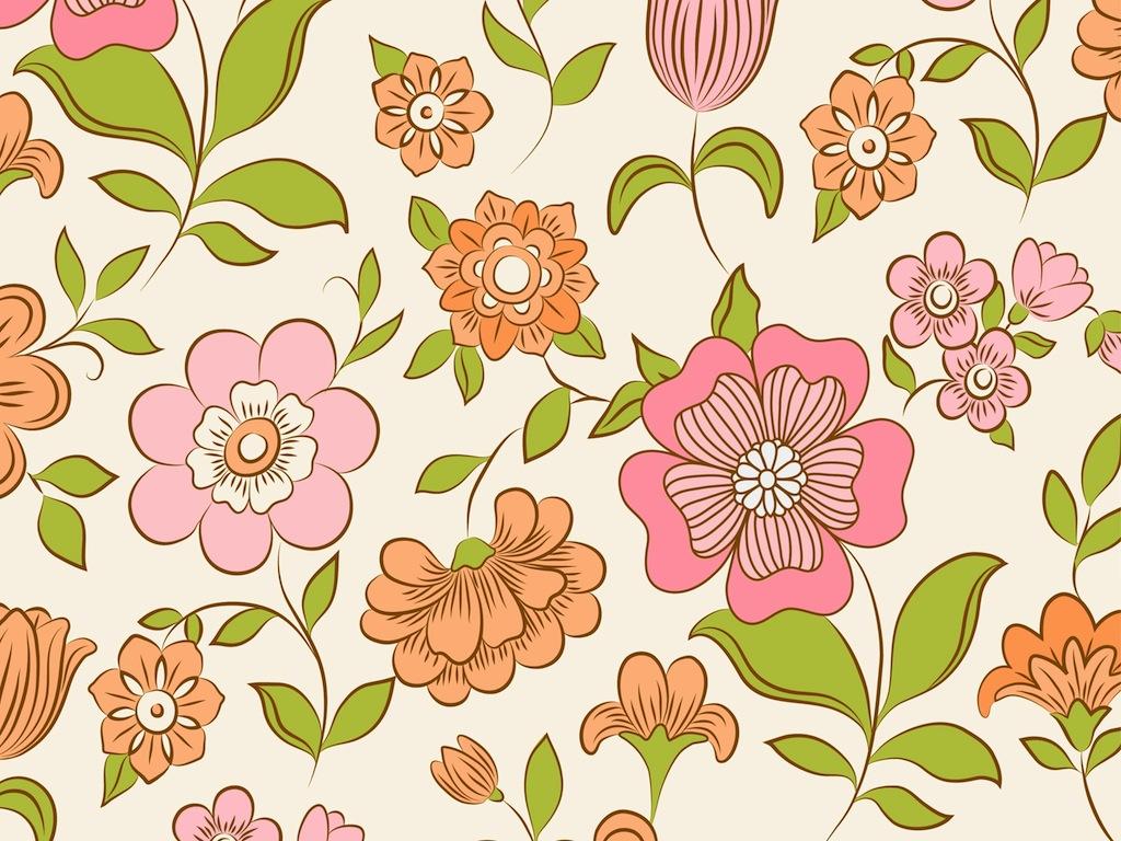 Free Download Retro Floral Pattern 1024x768 For Your Desktop