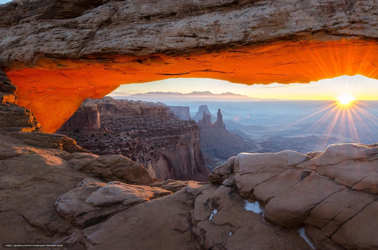 Download wallpaper Canyonlands National Park Mountains Rocks sunset 1600x1060