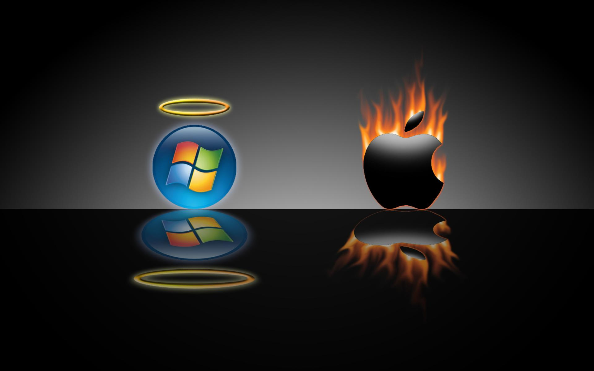 1200 Wallpapers Widescreen Wallpapers 7479 funny apple microsoftjpg 1920x1200