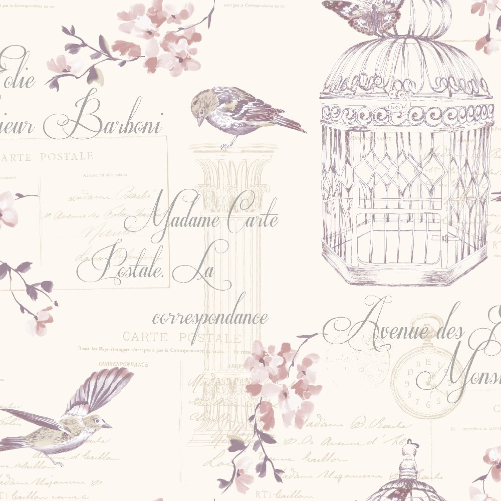 Dcor Aviary Birds Floral Motif French Typography Wallpaper 11318 1000x1000