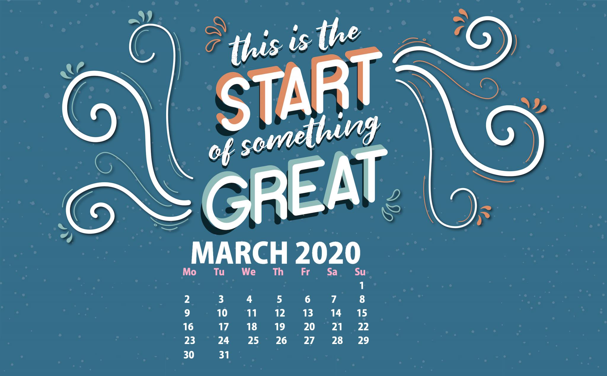 March 2020 Desktop Wallpaper Calendar 2019 2048x1270