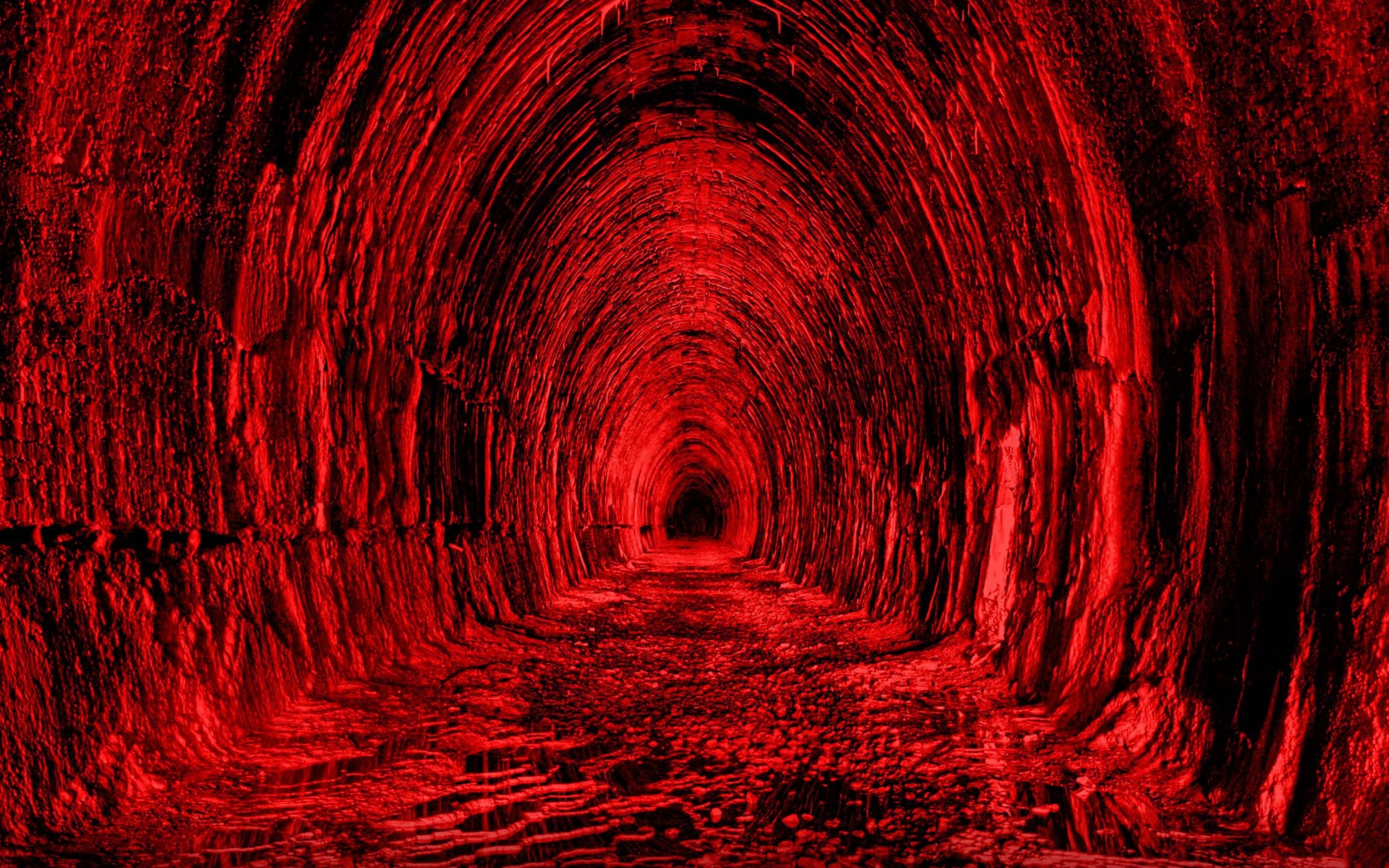 Download Wallpaper 3840x2400 Tunnel Red Black Light Ultra HD 4K HD 3840x2400
