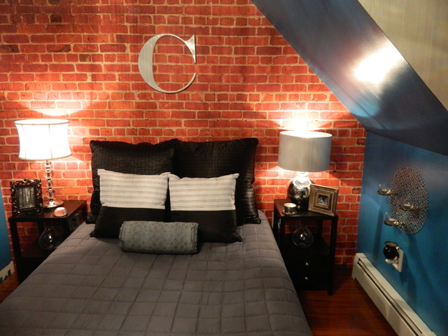 Custom Brick Wallpaper Loft Apartment Bedroom   Contemporary   Bedroom 640x480