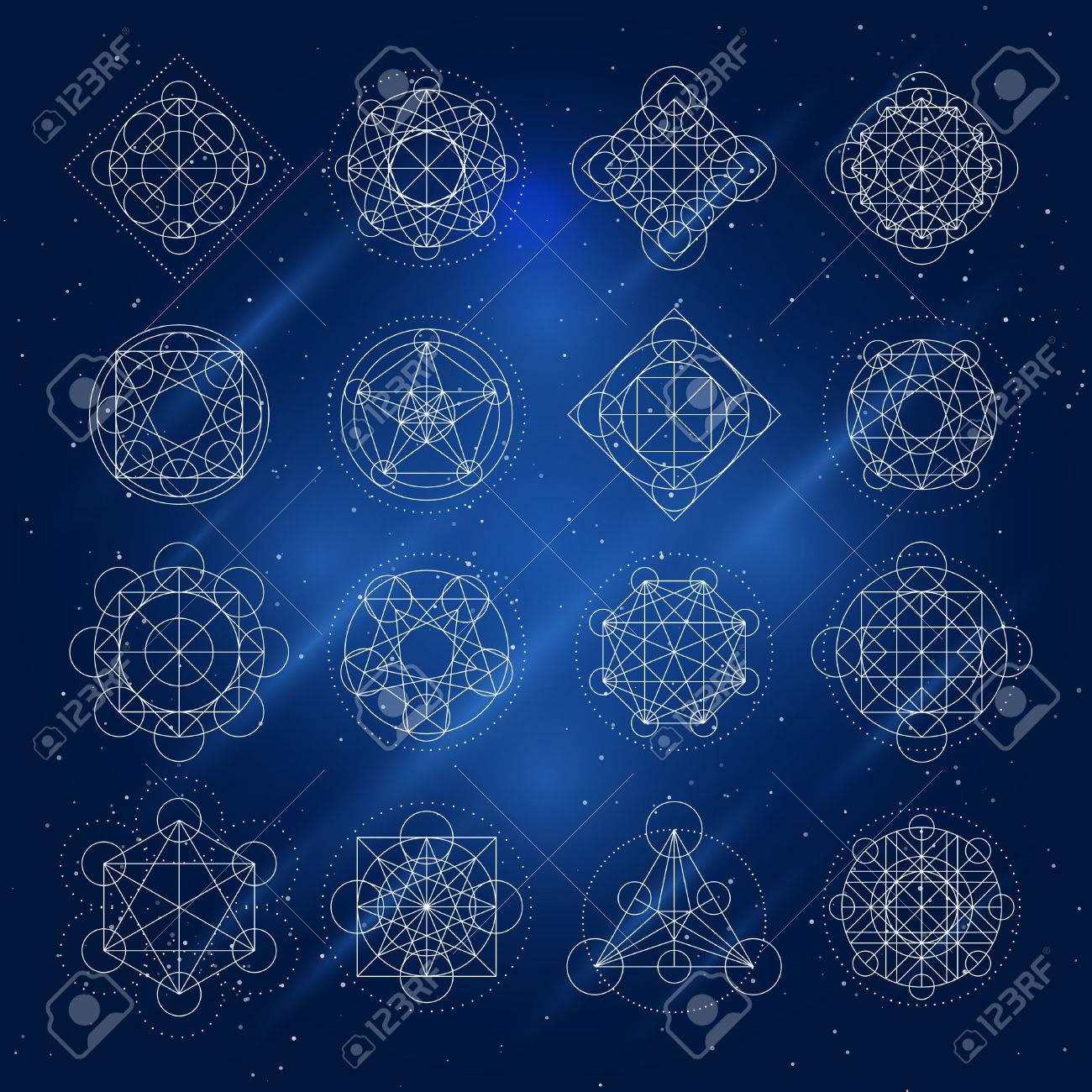 Magic Geometry Signs Vector Alchemy Mystical Symbols Set On 1300x1300