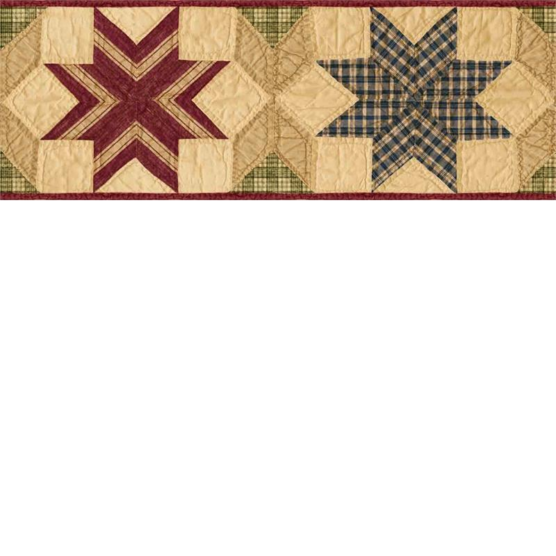Green Star Quilt Wallpaper Border   Rustic Country Primitive 800x800