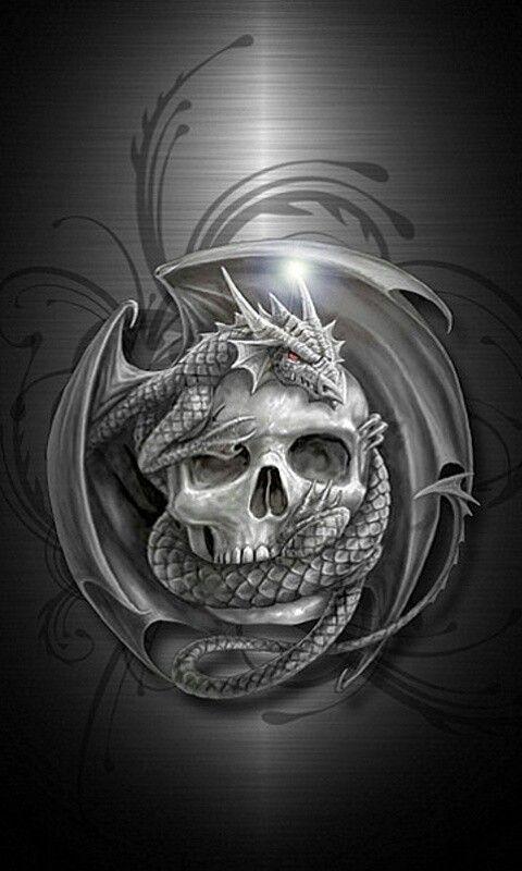 Skull dragon phone wallpapers Pinterest 480x800