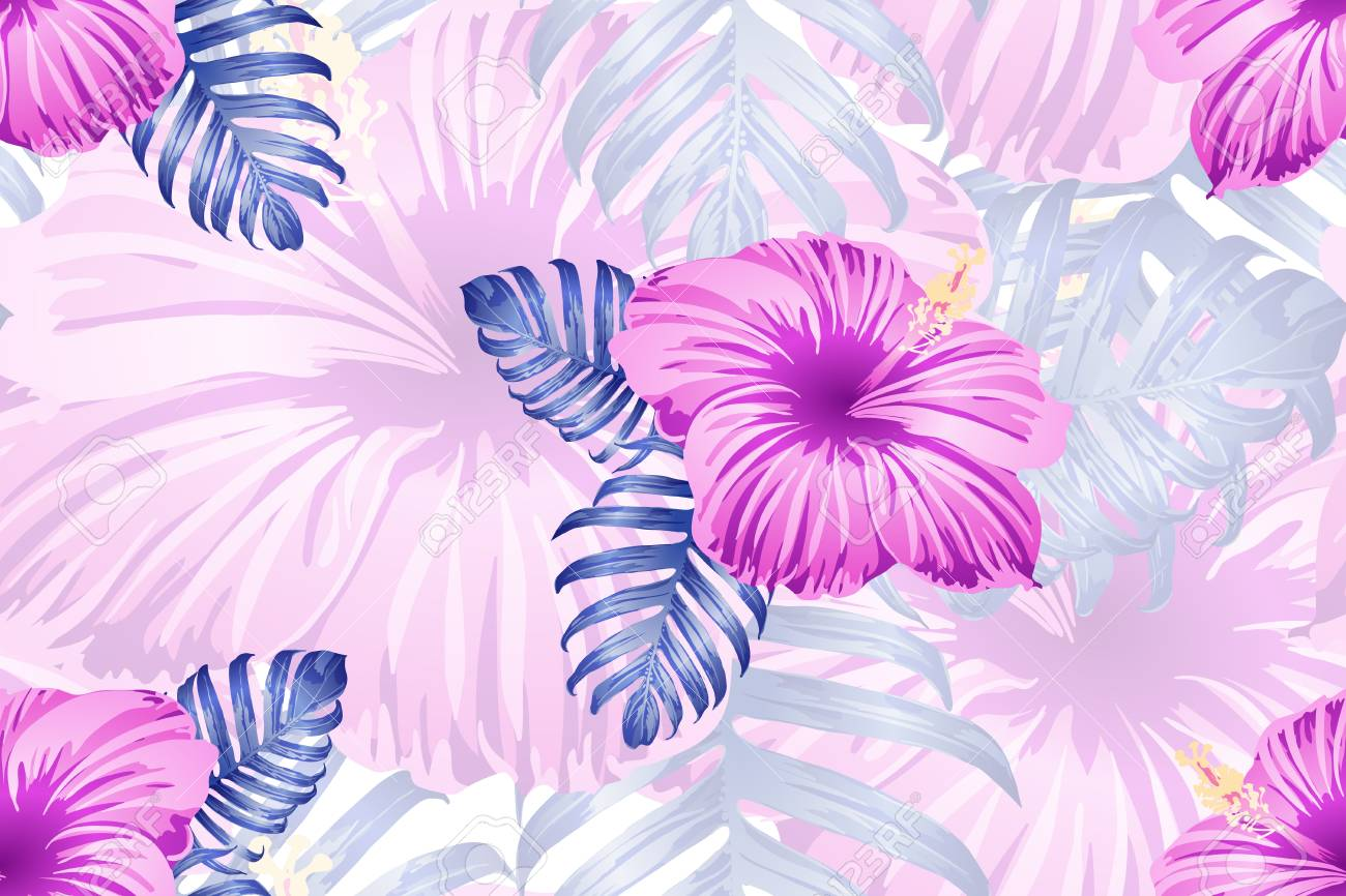 Tropical Pattern Red Pink Magenta Exotic Summer Flower Vector 1300x866