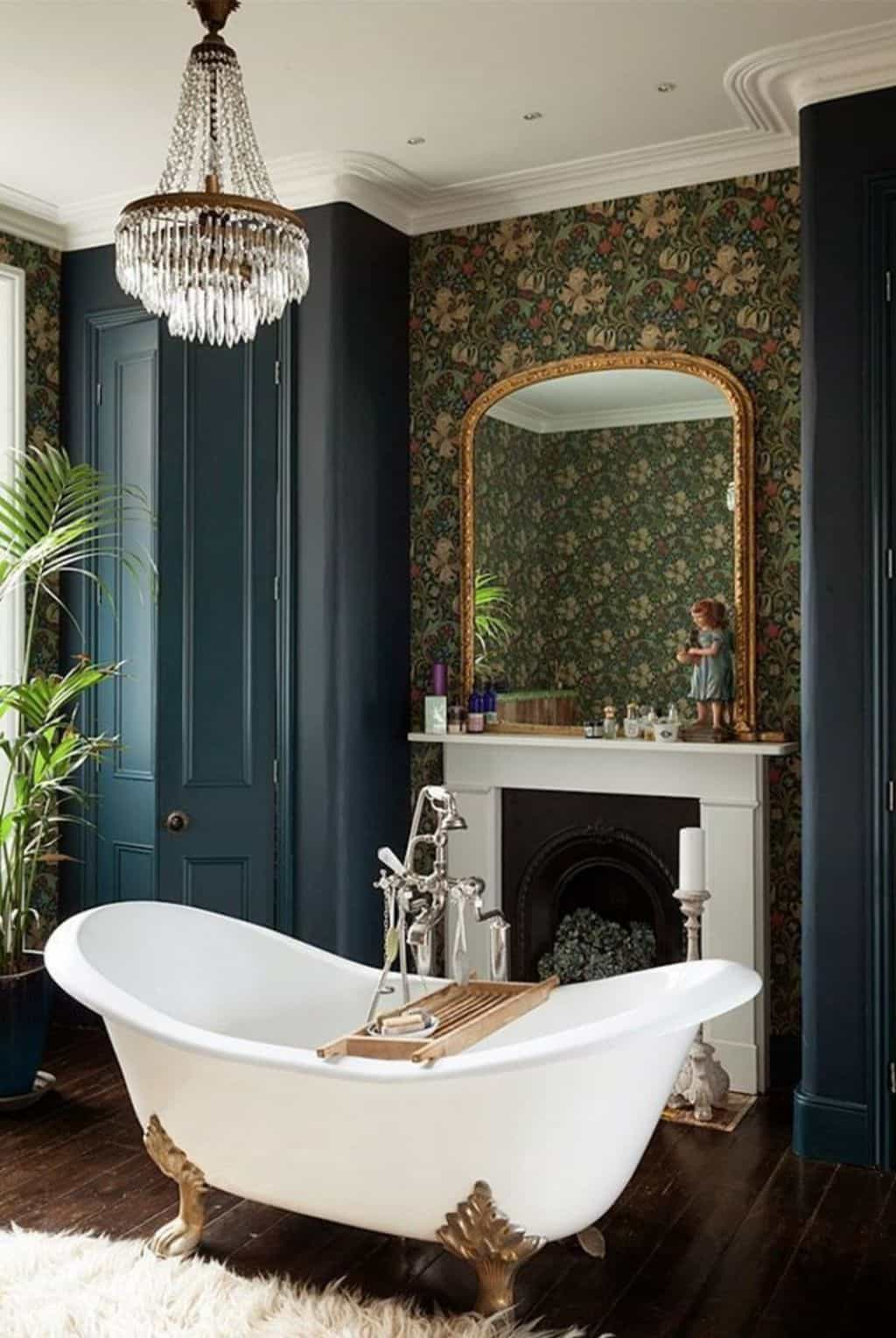 Amazing Bathroom With Wallpaper And Chandelier Over White Clawfoot 1024x1528