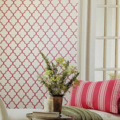 Buzzing Around Trellis Raspberry Wallpaper 37WAVCOT   LelandsWallpaper 500x500