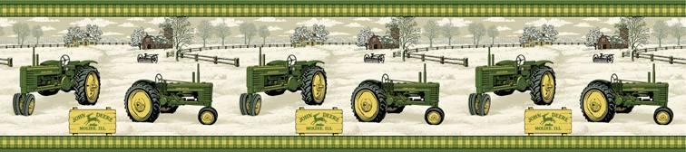 John Deere Tractor Wallpaper Border Antique john deere tractor 756x168