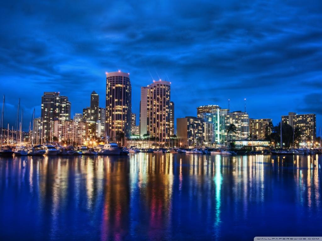Waikiki Skyline At Night 4K HD Desktop Wallpaper for 4K Ultra 1024x768