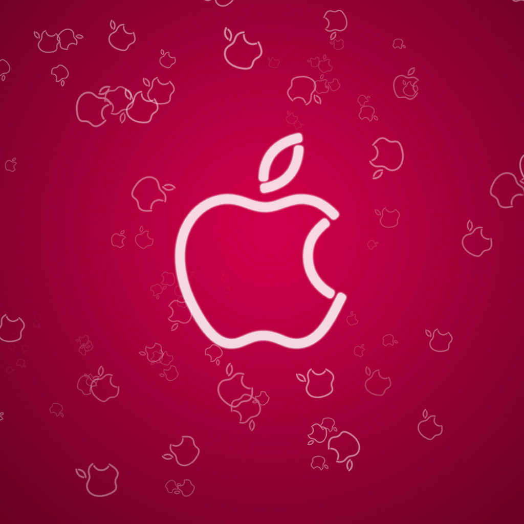 Apple Logo Red iPad Wallpaper Background and Theme 1024x1024