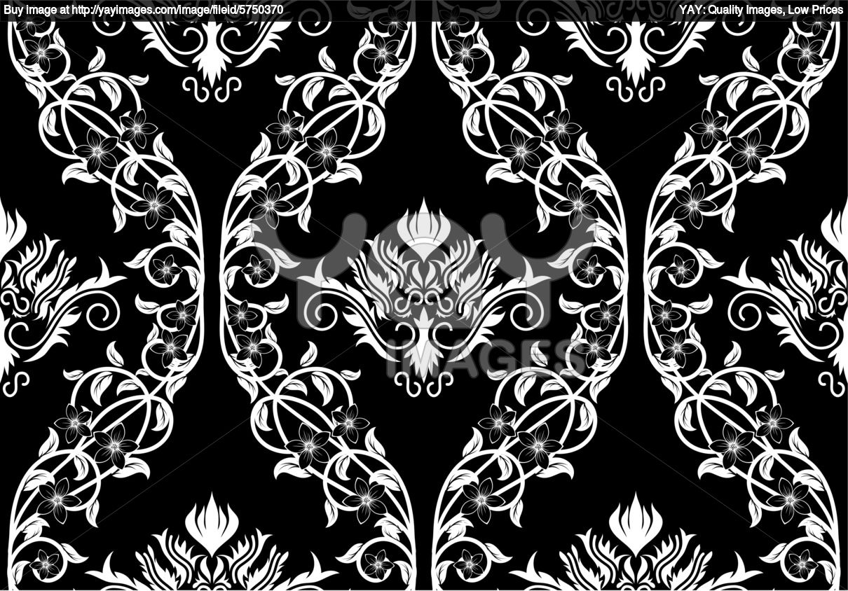 Royalty vector of seamless damask pattern Black Background and 1210x844