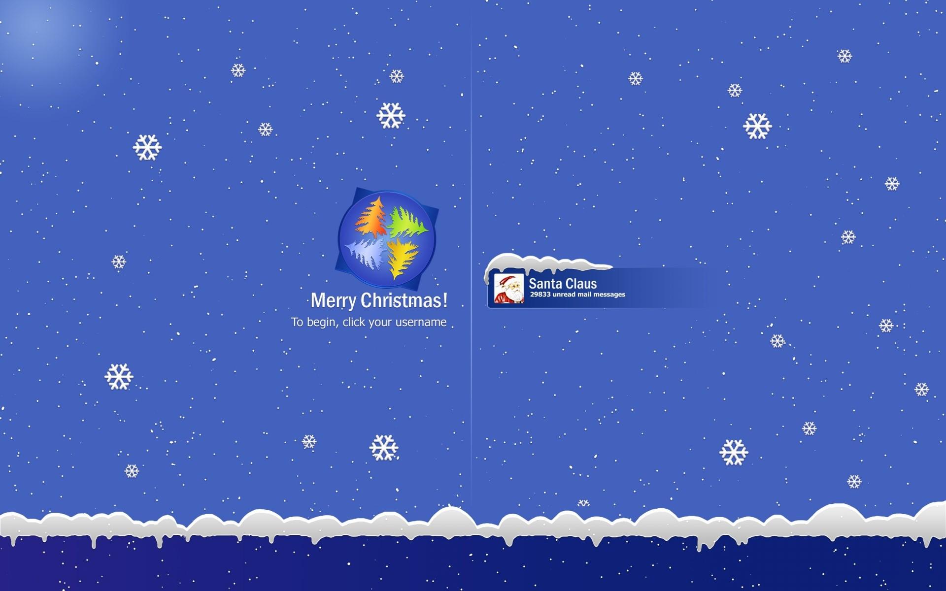 christmas seasons windows microsoft tech computer santa flakes snowing 1920x1200