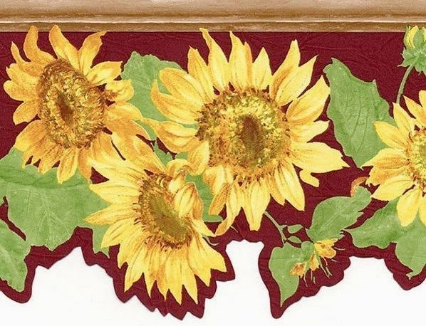 Die Cut Sun Flower Yellow Red Burgundy Wall Wallpaper Border eBay 598x458