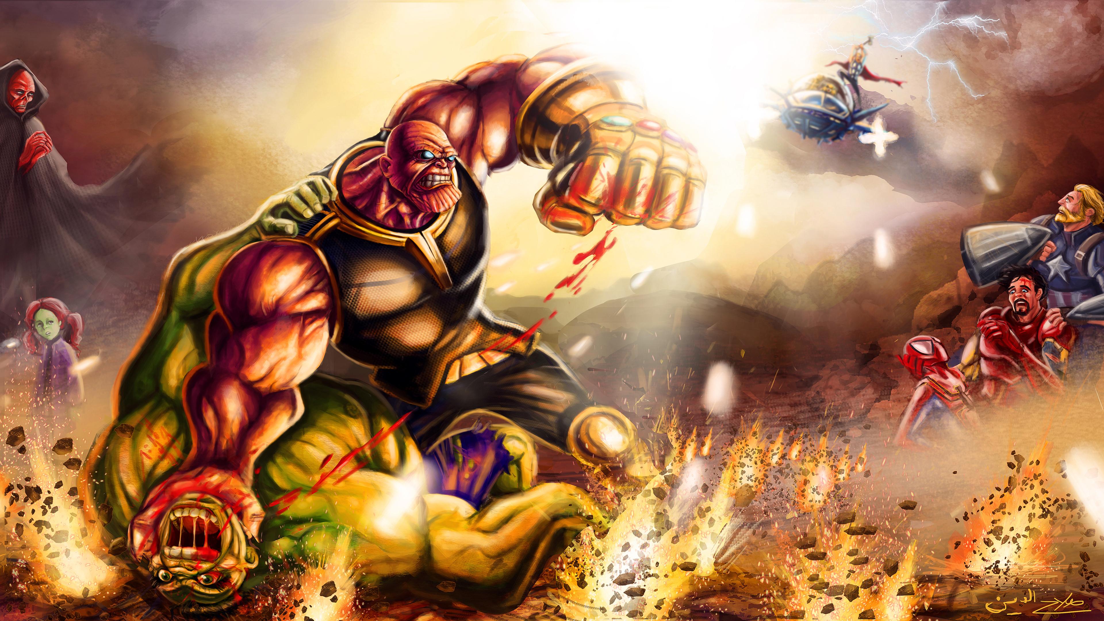 Wallpaper 4k Thanos Defeat Hulk Wallpaper 3840x2160