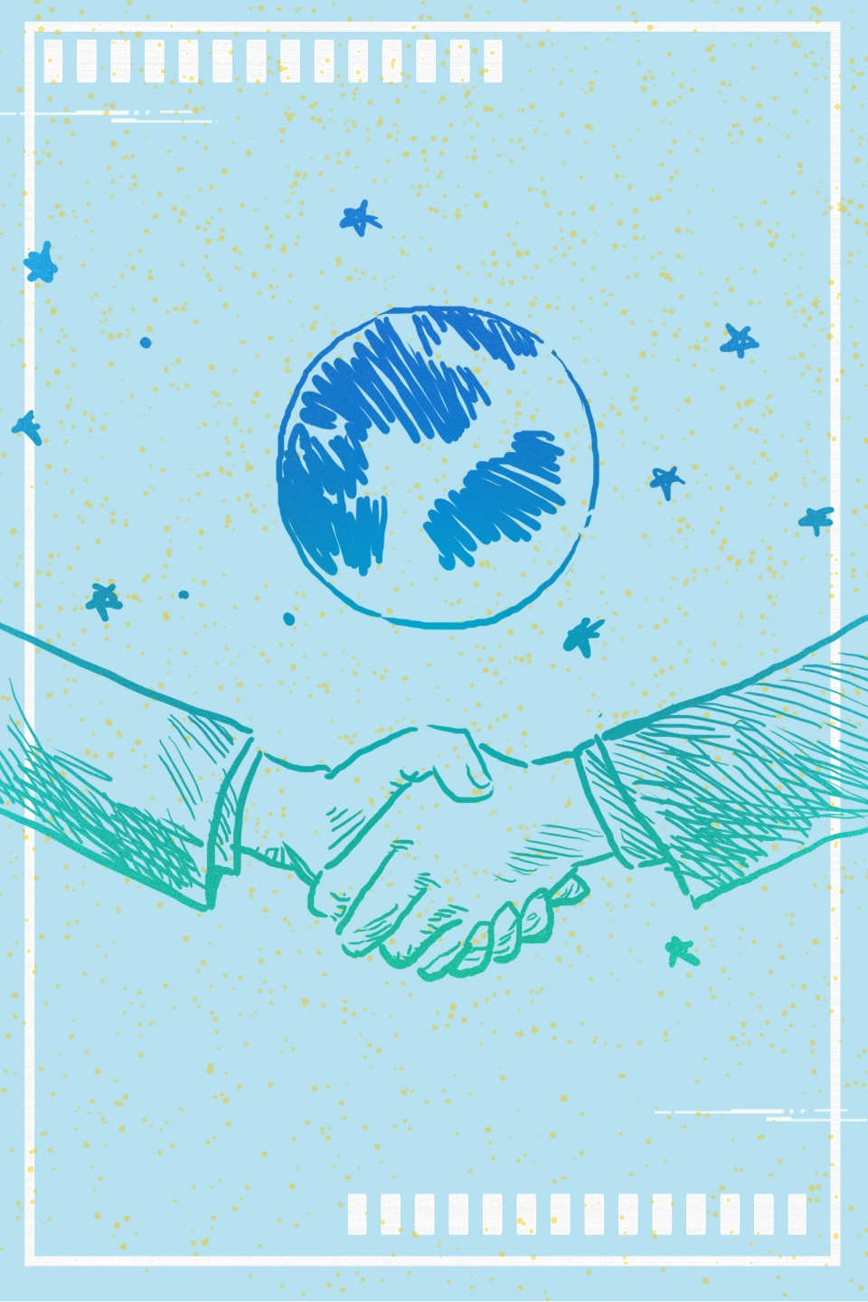 Blue Sky Business Handshake Cooperation Cooperation Background 960x1440