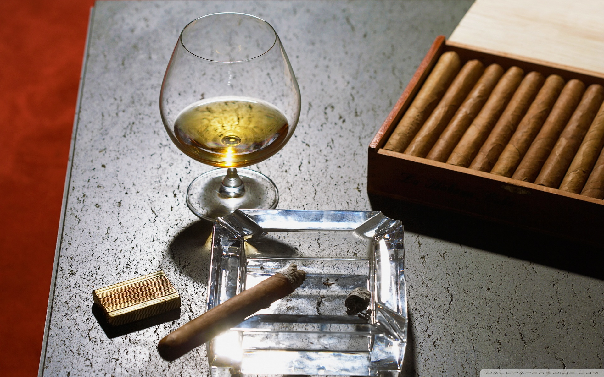 Close Up of Cognac Glass and Cigars Wallpaper   HQ Wallpapers 1920x1200