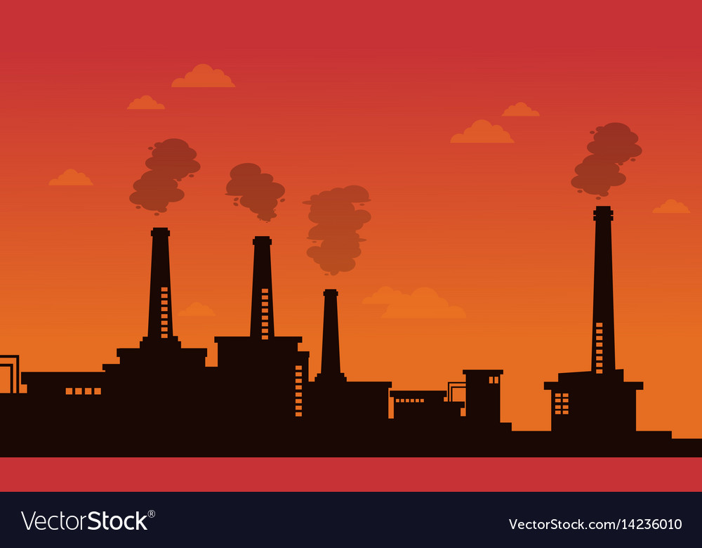 Pollution industry bad environment background Vector Image 1000x780