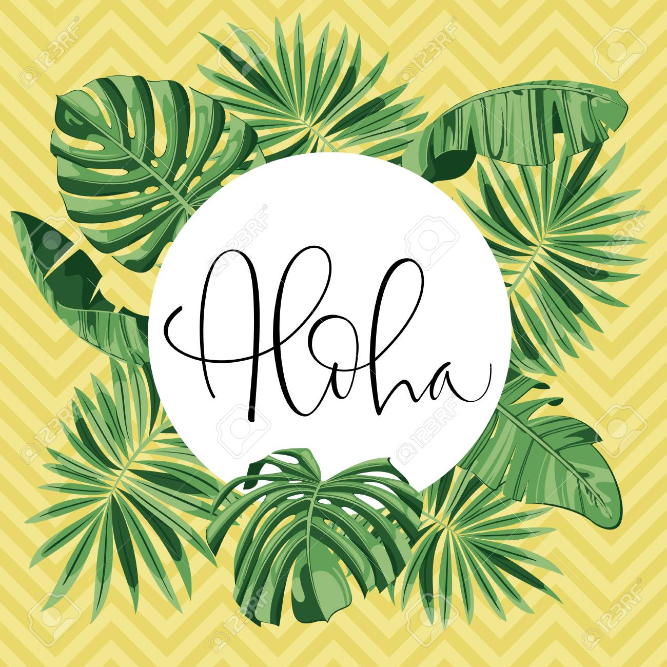 Summer Party Beach Poster Aloha Lettering Vector Floral 1300x1300
