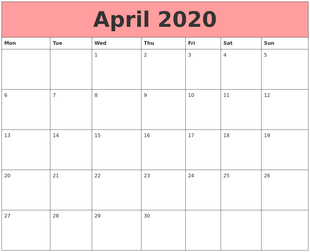 25 Unique Blank Calendar April 2020 Fillable Editable Template 1017x827