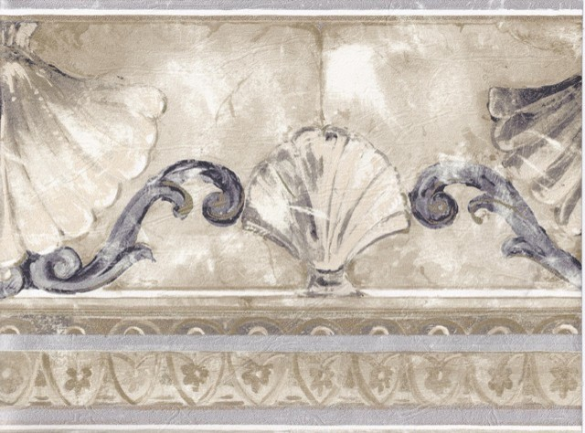 Stone Sea Shell Molding Wallpaper Border Roll traditional wallpaper 640x474