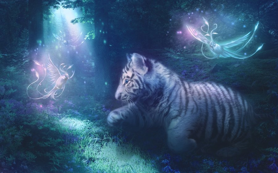 White Tiger Cub and Phoenixes by MariLucia 900x563