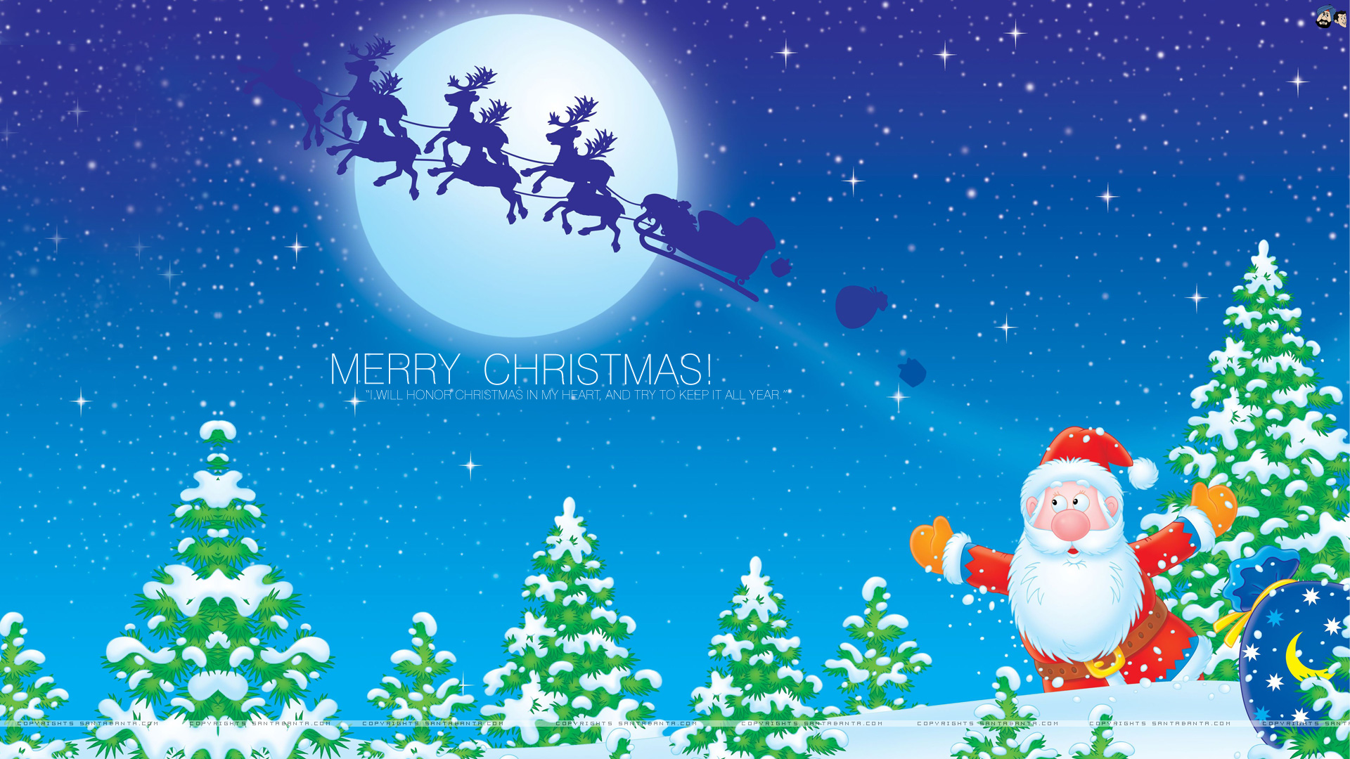 Download Cute Merry Christmas Background 12179 Full 1920x1080