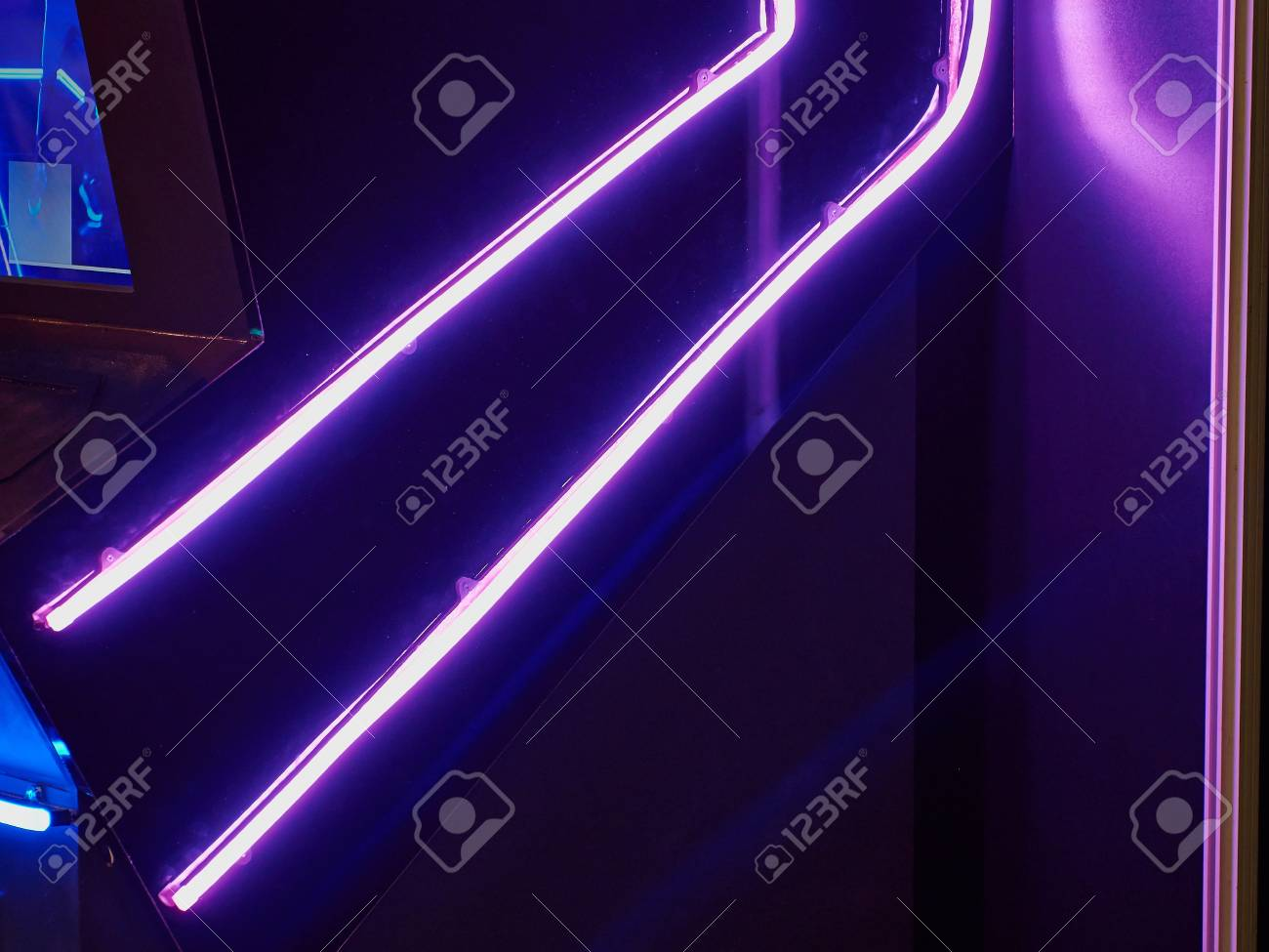 Neon Lights Purple Violet UV Over Black Abstract Background Stock 1300x975