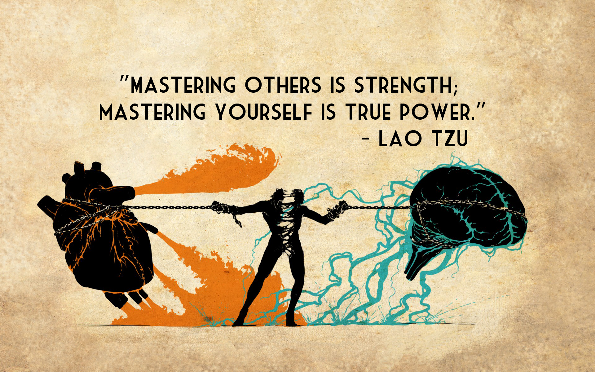 Mastering Strength True Power Lao Tzu quotes texts brain heart 1920x1200