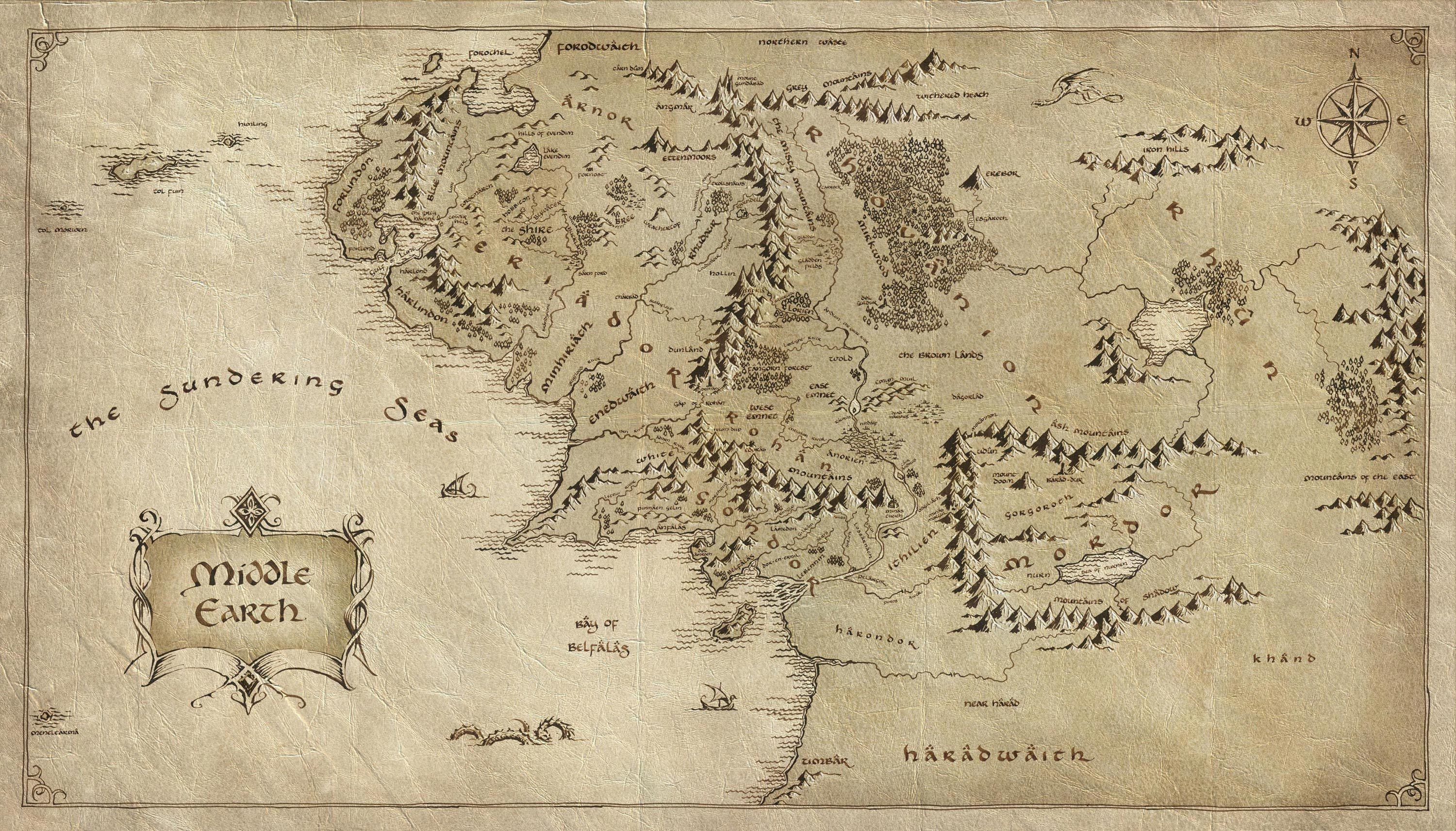 HD wallpaper   The Lord of the Rings   The Lord of the Rings map 3000x1713