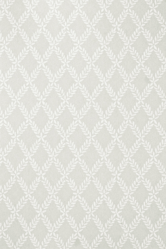 Esme Wallpaper Grey wallpaper with white Laurel Leaf trellis design in 534x801