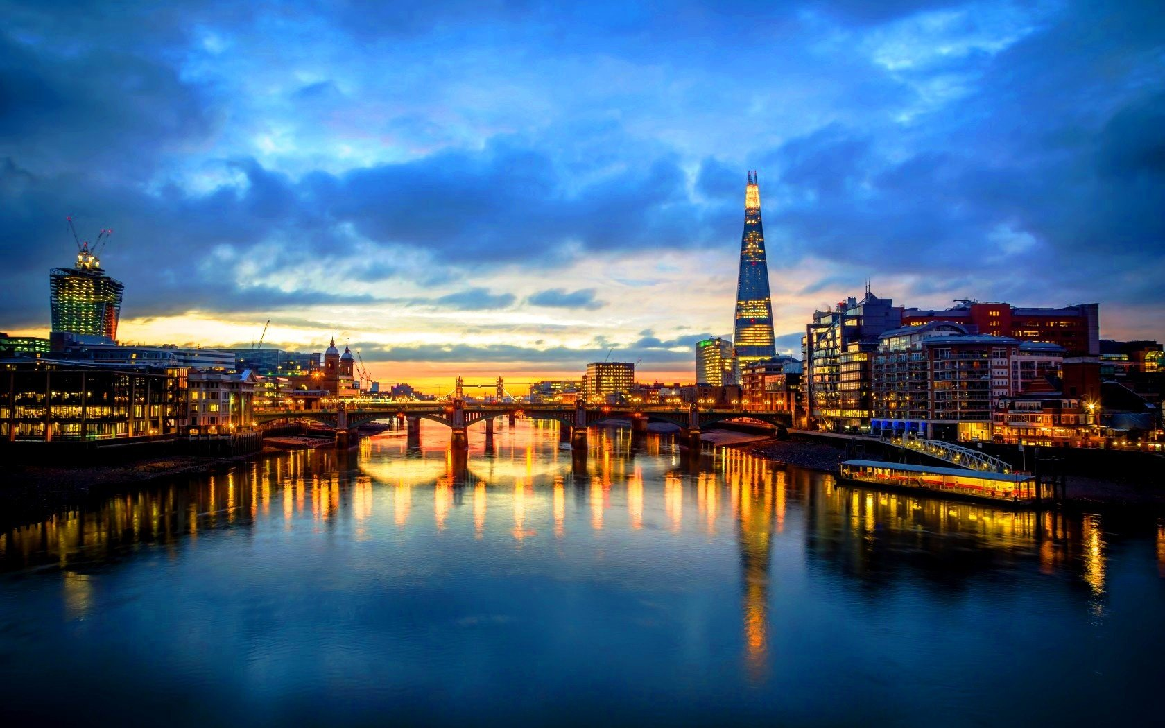 London Skyline From The Milleneum Bridge Wallpaper 1680x1050