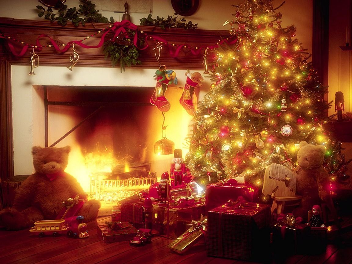 christmas tree and fireplace wallpaper christmas tree nature wallpaper 1152x864