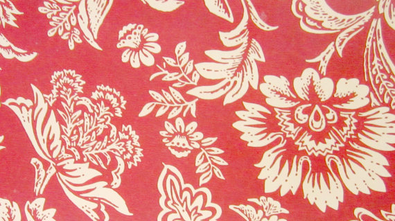 Vintage Wallpaper Hand Painted French Floral design on Red Border 570x319