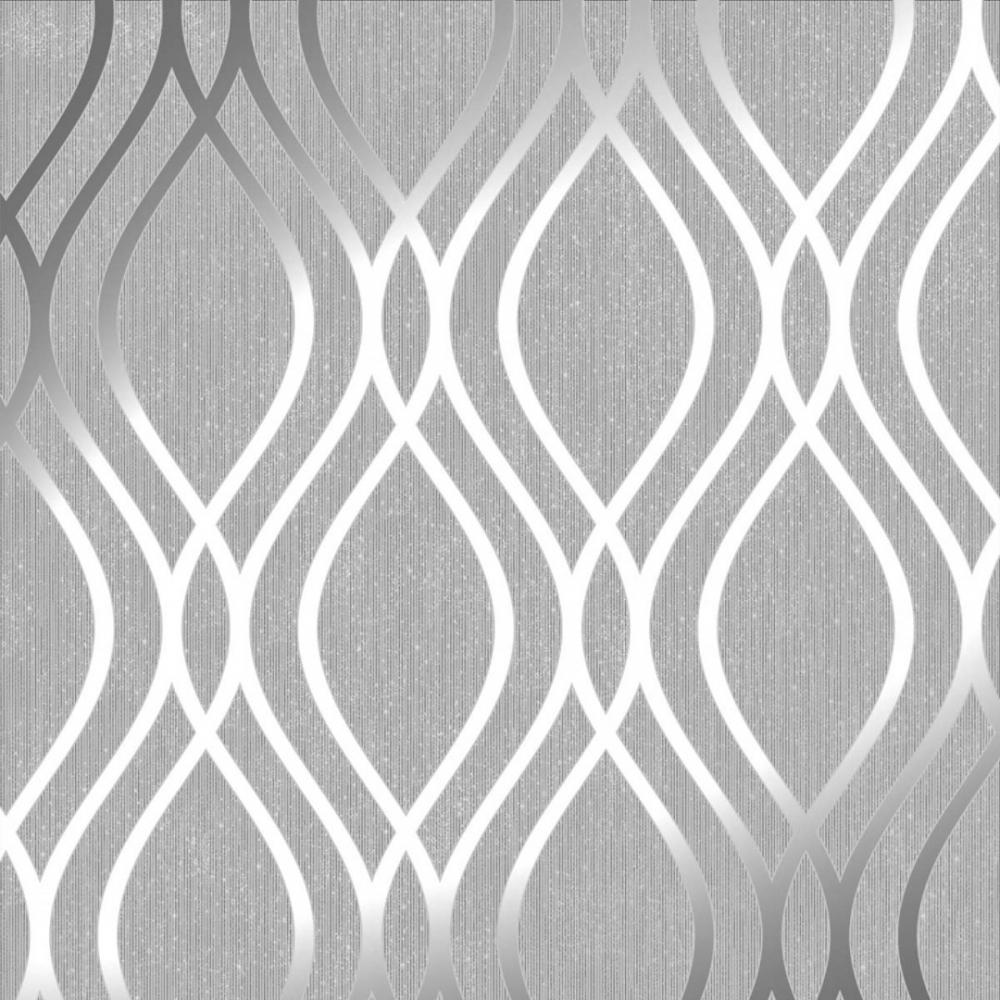 Henderson Interiors Camden Wave Wallpaper Soft Grey Silver 1000x1000