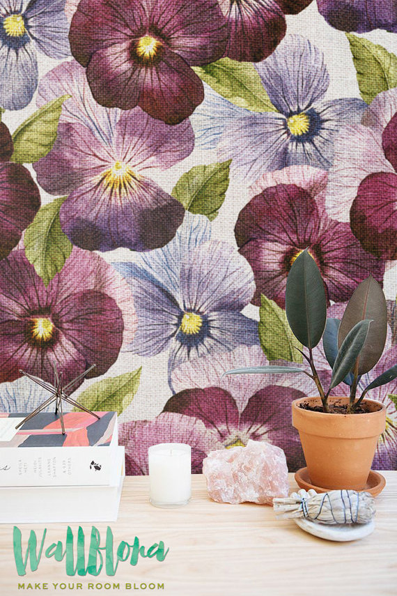 Purple Petunia Wallpaper Removable Wallpaper Self Adhesive 570x855