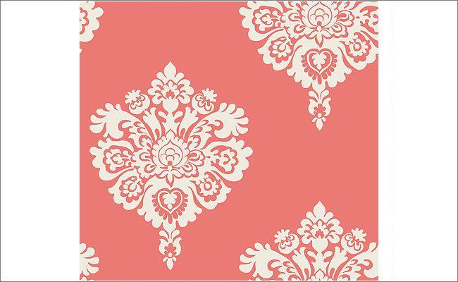 coral damask wallpaper more girl bedroom damask wallpaper stencil 650x400