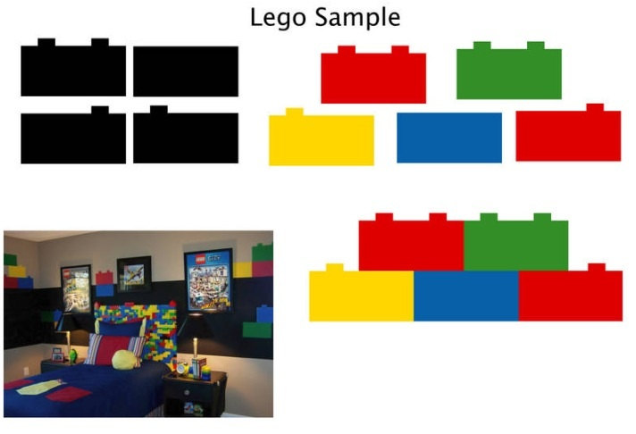 Two set of Lego Blocks wall decal for boys bedroom decors 712x486