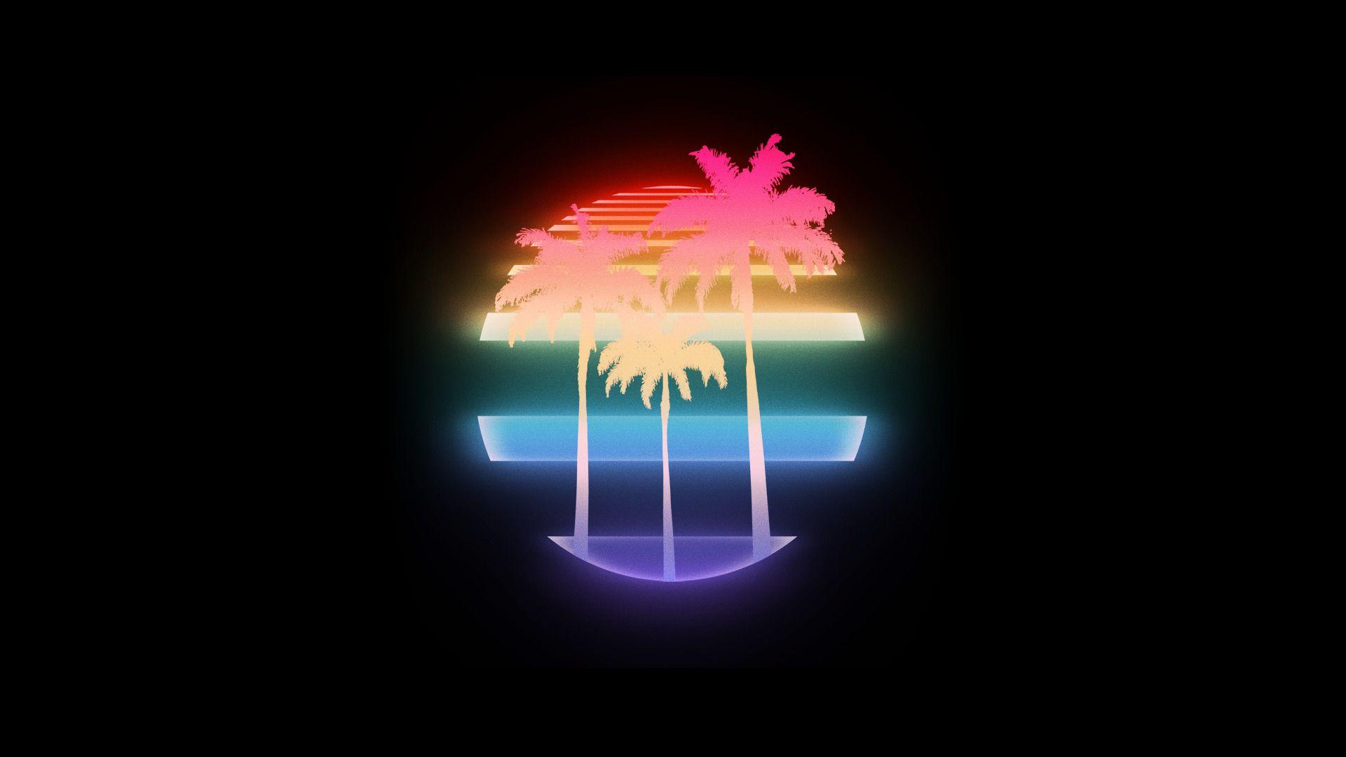 VHS Palm trees 1980s New Retro Wave Retro style Vintage 1920x1080